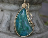 Wire wrapped Chrysocolla Malachite Pendant