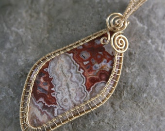 Red Rosetta Stone Crazy Lace Agate Pendant in 14k Gold Filled