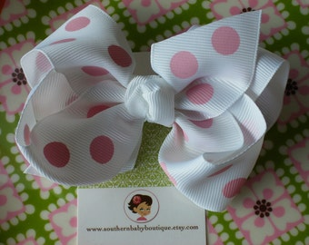 INVENTORY BLOWOUT SALE----Boutique Large Hair Bow Clip-----Polka Dots-----White with Pink Dots----Ready to Ship