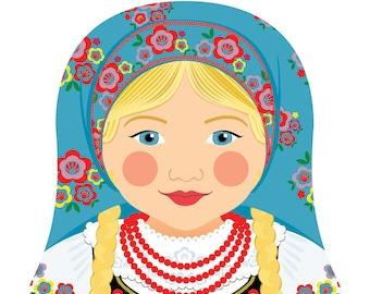 Polish Wall Art Print featuring culturally traditional dress drawn in a Russian matryoshka nesting doll shape