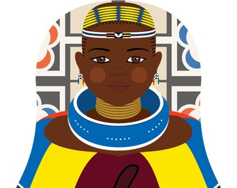 Ndebele South African Wall Art Print features cultural dress drawn in a Russian matryoshka nesting doll shape