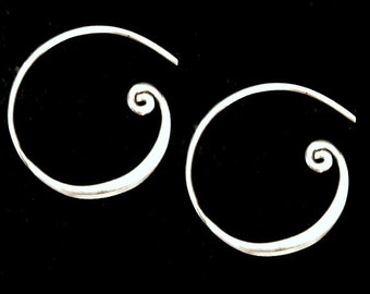 Sterling Silver Curled Hoop Earwires Ear Wires 22mm , 4 PCS,  Thickness .85mm  20ga, New Low Wholesale Price