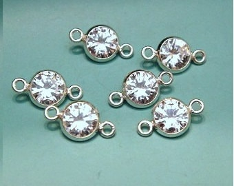 Sterling Silver 6mm CZ Bezel Link- 5 pc- High Quality  , 11x6mm, link 1.0 id