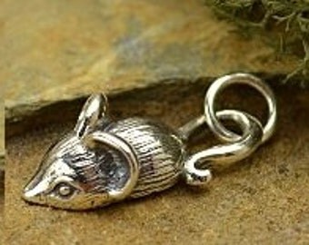 Sterling Silver Mouse Charm , Length 18.3  Width 8  Height 4.5