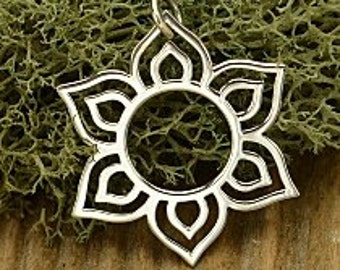 Silver Lotus Charm Flower in Bloom 925 Sterling Silver, 29x26.5mm  Thickness 1mm (18ga)