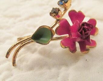 Vintage Pendant Flower with Rhinestones marked SALE