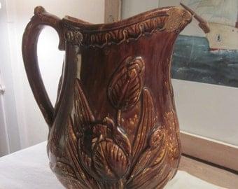 Antique Yelloware Pitcher with Brown Rockingham Glaze