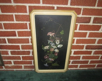 Antique Wonderful Edwardian Framed Morning Glories Original Oil Painting