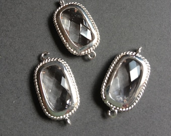 4 pc - Clear Crystal Faceted zircon glass crystal connector- pendant -charm - Rhodium plated bright silver