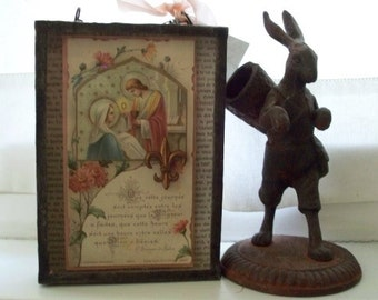 Premiere Communion - Antique French Prayer Card Assemblage Shadow Box