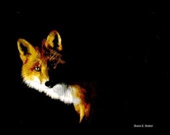 Fox Art, Southwestern Totem Animal, Black Night Darkness, Woodland Wilderness Wildlife, Digital Print, Home Decor, Wall Hanging, 8 x 10