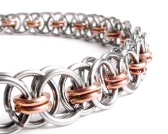 Helms Weave Chainmaille Bracelet - Copper & Stainless Steel