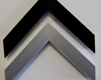 10 x 10 to 22 x 22 Sizes  Tate Collection in brushed metallic black and silver-  Custom PICTURE FRAME-Professional Framer