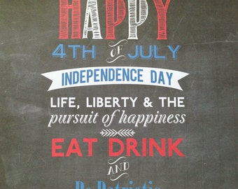 Instant download of DIY printable Chalkboard 8x10 Fourth of July Sign