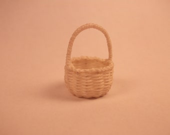 Miniature hand woven fairy basket with handle, 1/12th scale, ready to ship!