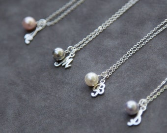 Sterling Silver Bridesmaid Necklace Set of 4, Pearl Necklace with Initial Bridesmaid Jewelry Gift for Bridesmaid, Thank You Gift