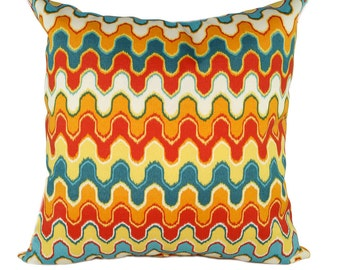 CLEARANCE Mill Creek Nivala Desert Red, Orange, Teal, Yellow and Ivory Outdoor Decorative Throw Pillow Free Shipping