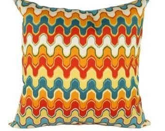 Orange STUFFED Geometric Outdoor Throw Pillow // Orange Decorative Pillow // Flame Outdoor Throw Pillow // Teal Yellow Red  Orange Free Ship