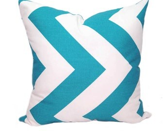 CLEARANCE Premier Prints Zippy True Turquoise and White Chevron Decorative Throw Pillow - Free Shipping