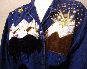 Denim Jean Jacket Vintage 1980s Gem Jeweled Long Duster Bejeweled