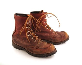 Red Wing Boots 1970s Distressed Brown Lace Up Leather Irish Setter men's size 8 1/2 EE Made in Usa
