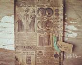 10 kraft newsprint paper gift bags, 6x9