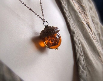 Topaz Glass Acorn Necklace with encased Goldstone by Bullseyebeads