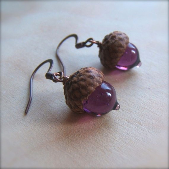Glass Acorn Earrings in Amethyst Purple by Bullseyebeads