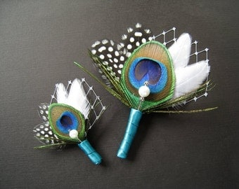 2 Peacock wedding groom's boutonniere ringbearer boutonniere ring bearer peacock grooms lapel pin ringbearers lapel pin ringbearer boutineer