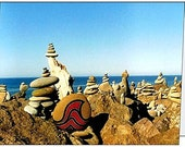 Note Cards, Seascape, Rock Cairns Image, Set of 4, Blank Inside, with Envelopes