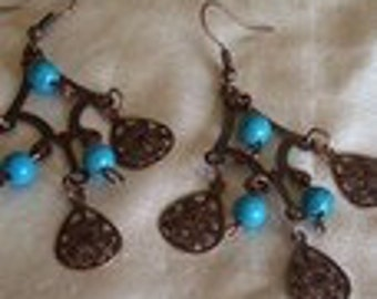Lightweight Copper Colored Chandelier Pierced Earrings with Turquoise Accents