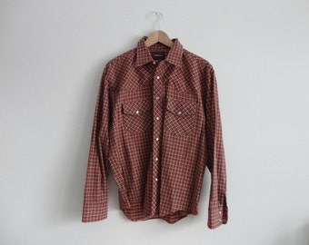 VINTAGE men's western style plaid FLANNEL SHIRT - xlg