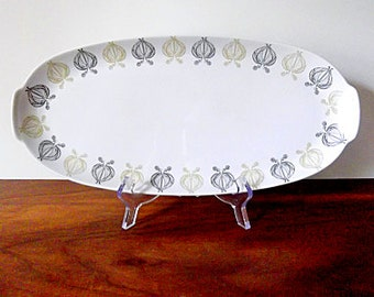 "Modernist Sigvard Bernadotte for Thomas Germany ""Constanze"" Porcelain Platter, Onion Motif, Mustard, Black, White"