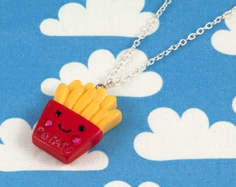 Kawaii Happy Fries Necklace Red