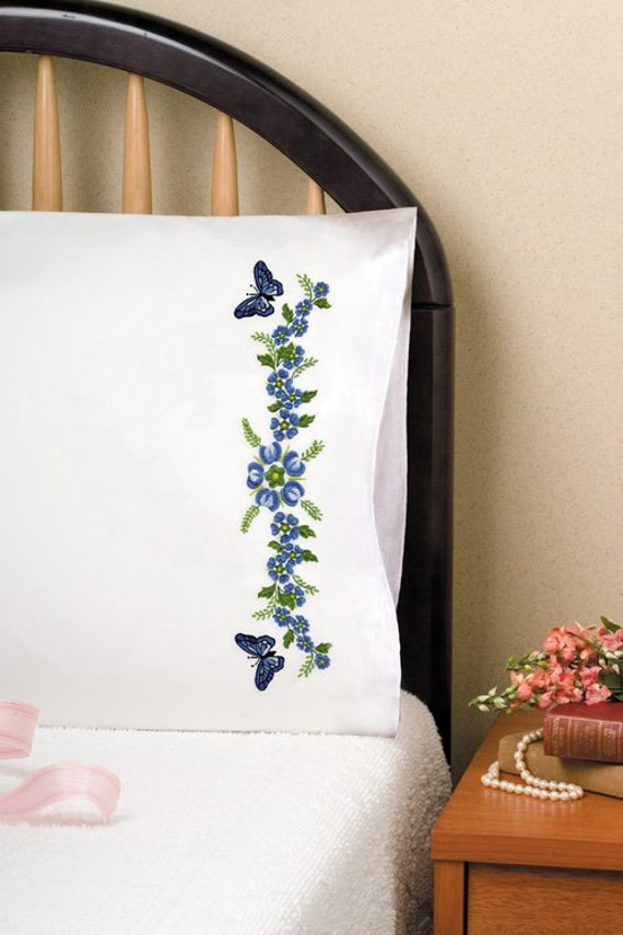 Tobin Home Crafts - Passion Flower Pillowcases Stamped for Embroidery NEW