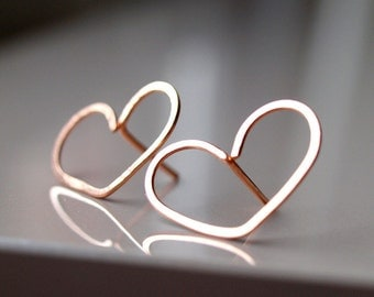 Extra Large heart stud earrings in rose gold filled