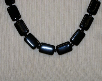 Handmade Black Glass Bead Necklace