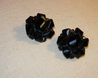 Vintage Black Bead Earrings - Clip Ons