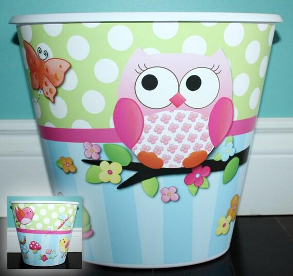 owls love birdies flowers girls trash can garbage container. Black Bedroom Furniture Sets. Home Design Ideas