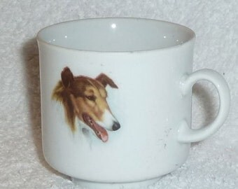 Vintage Bavaria Germany Collie Dog Lassie Portrait Mug Cup Porcelain