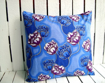 Vintage flowers African Cushion pillow, African wax print Blue and Purple flowers, scatter cushion (17 inch) Throw Pillow, decorative pillow