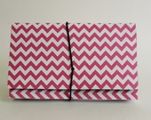 Coupon Organizer  Accordion File Book Hot Pink Chevron Stripes