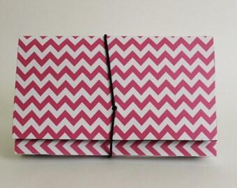Coupon Organizer  Accordion File Book Hot Pink Chevron Stripes