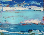 Blue Art, Original Abstract Modern Painting by Francine Ethier, 30x30x1.5 inches