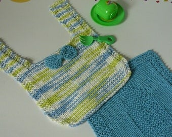Hand Knit  Baby Bib and Wash Cloth Set in Blue Green and White           READY TO SHIP           One Size