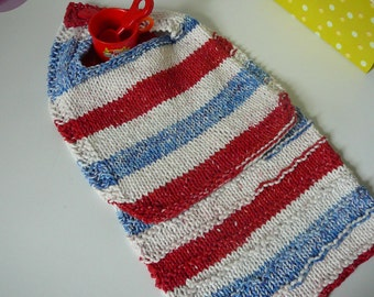 Patriotic Knit Baby Bib and Wash Cloth Set nin Red Blue and White           READY TO SHIP           One Size