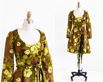 vintage 1960s dress / 60s dress / Brown Silk with Flocked Green Velvet Leaves Party Dress