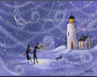 Stronger Together a small Love, Lighthouse Snow storm dog wind PRINT by Deborah Gregg
