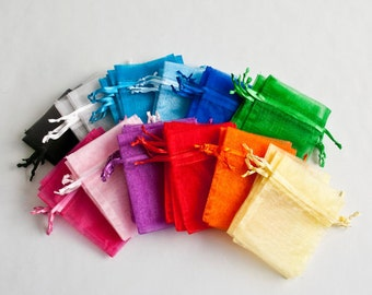 100 Organza Bags, 3x4 inch, Your Choice of Color
