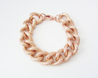 Rose Gold Faux Pave Textured Chain Bracelet